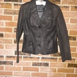 NWOT Naf Naf Dark Brown Leather Blazer Jacket